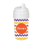 Hand Sketched Chevron with Orange 10 oz. Custom Spill Proof Sippy Cup
