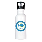 Blue Fish Personalized Aluminum Flip Spout Water Bottle