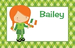 Irish Girl Green Gingham Custom Placemat