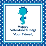 Blue Dots Seahorse Custom Valentine's Cards