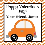 Chevron Orange Car Custom Valentine's Cards