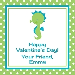 Green Dots Seahorse Custom Valentine's Cards