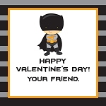 Grey and Black Striped Caped Superhero Inspired Custom Valentine's Cards