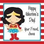 Red Striped Wonder Woman Inspired Custom Valentine's Cards
