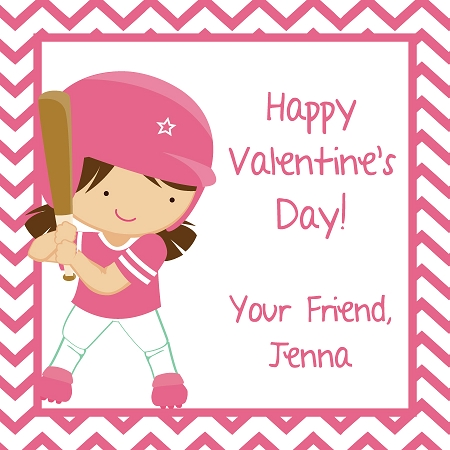 Softball Kids Valentines Day Cards Ooh La La Printables – Valentines Cards for Girls