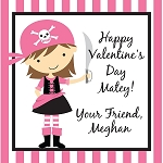 Striped Pirate Girl Custom Valentine's Cards