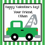 Striped Tow Truck Custom Valentine's Cards