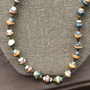 Primary Colors of Orange and Blue- Handcrafted Bead Necklace