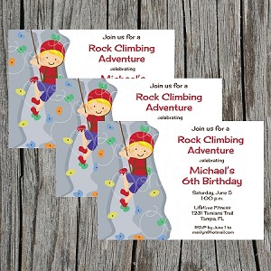 Rock Climbing Boy Birthday Party Invitations