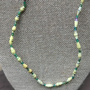 Primary Colors of Yellow and Green - Handcrafted Bead Necklace