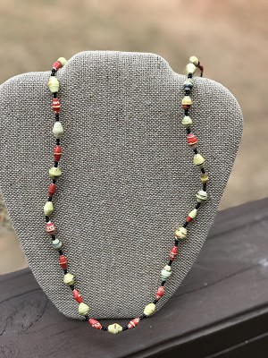 Red with Yellow - Handcrafted Bead Necklace