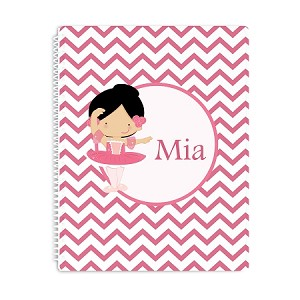 Black Haired Ballerina Personalized Spiral Bound Notebook