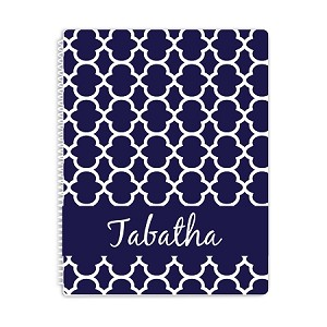 Blue Ornamental Personalized Spiral Bound Notebook