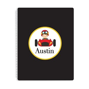 Racecar Personalized Spiral Bound Notebook