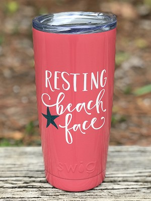 "20 oz. Coral Stainless Steel ""Resting Beach Face"" SWIG Vacuum Insulated Tumbler"