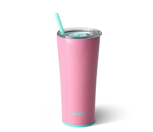 22 oz. Personalized SWIG Double-Walled Vacuum Insulated Tumbler with Acrylic Straw - Peony