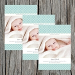 Boy Lattice Photo Birth Announcement