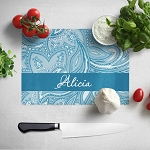 Blue Floral Glass Cutting Board