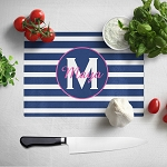 Blue Striped with Pink Glass Cutting Board