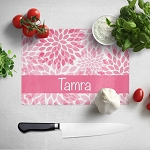 Pink Floral Glass Cutting Board