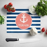 Striped Anchor Glass Cutting Board