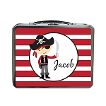 Red Striped Pirate Custom Lunch Box