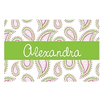 Pink and Green Paisley with Green Ribbon Personalized Placemat