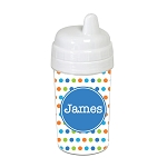 Multicolored Dots with Blue 10 oz. Custom Spill Proof Sippy Cup