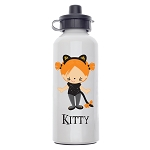 Kitty Kat Girl Custom Aluminum Water Bottle